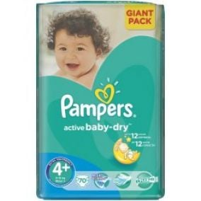 Pampers Active Baby 4+ Maxi Plus 9-16kg, 70 ks
