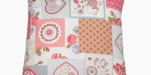 Patchwork cushion red heart by Loom In Bloom