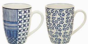 2 Piece Mug Set Porcelán Modrá 2 pcs - Queen