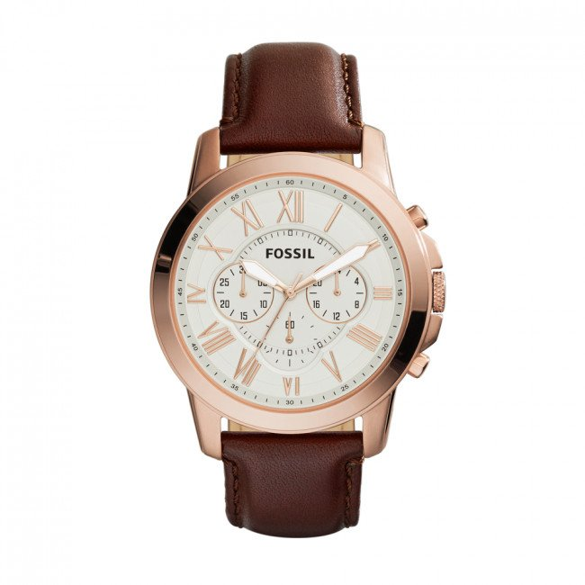 Hodinky FOSSIL - Grant FS4991IE Brown/Rose Gold