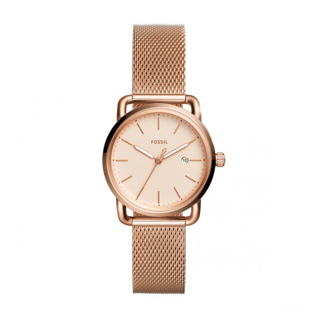 Hodinky FOSSIL - The Commuter 3H Date ES4333  Rose Gold/Rose Gold