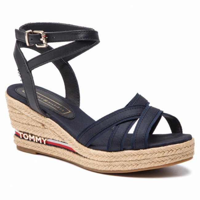 Espadrilky TOMMY HILFIGER - Iconic Elba Corporate Ribbon FW0FW04056 Midnight 403