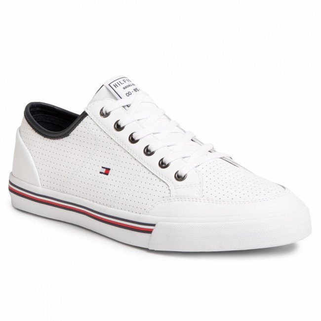 Sneakersy TOMMY HILFIGER - Core Corporate Leather Sneaker FM0FM02677  White YBS