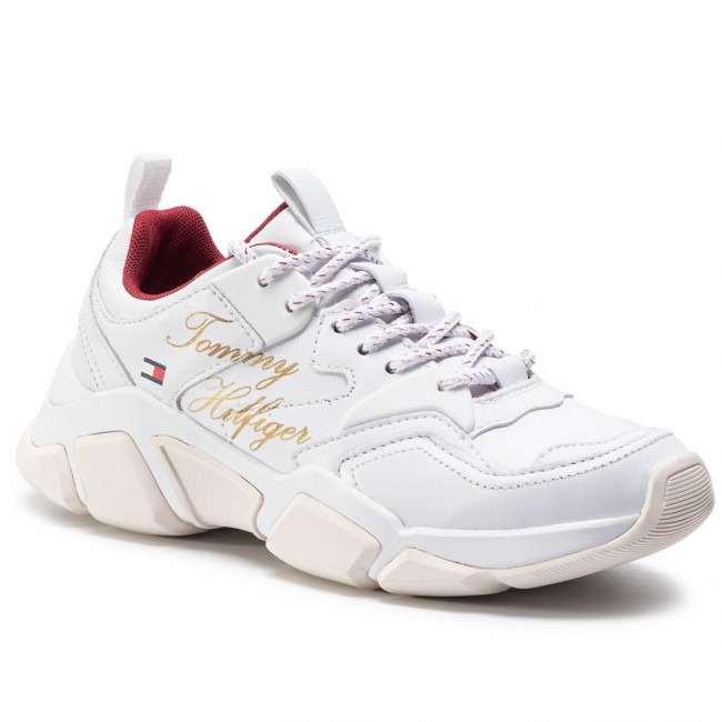 Sneakersy TOMMY HILFIGER - Cny Chunky Trainer FW0FW04258 White 100
