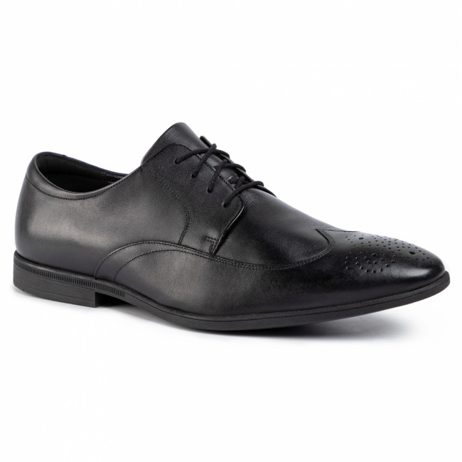 Poltopánky CLARKS - Bampton Wing 261452927 Black Leather