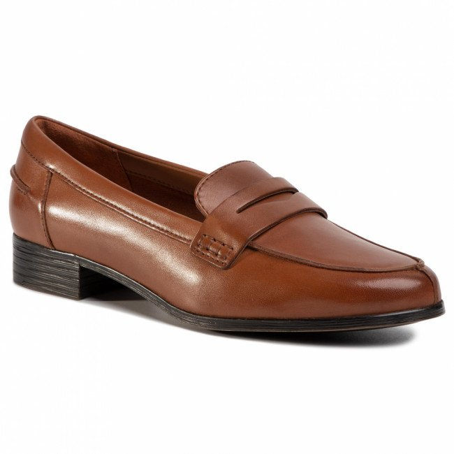 Poltopánky CLARKS - Hamble Loafer 261477404 Tan Leather
