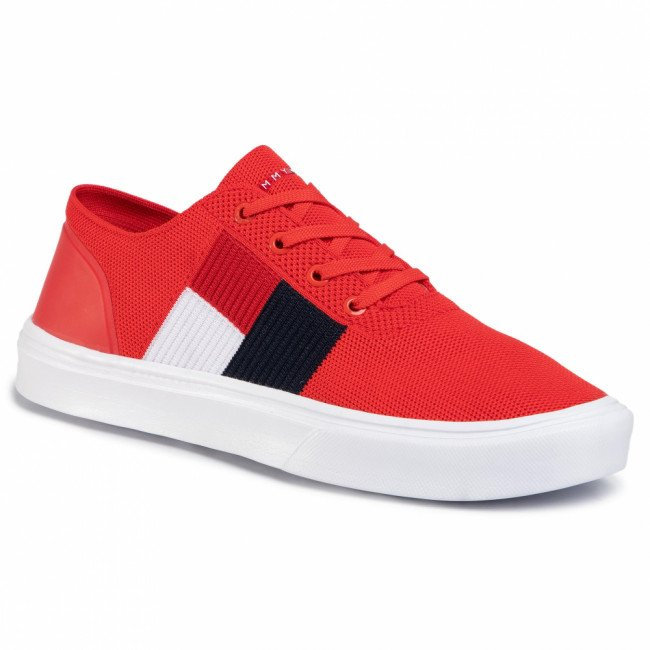 Sneakersy TOMMY HILFIGER - Lightweight Knit Flag Sneaker FM0FM02545 Fiery Red XA7