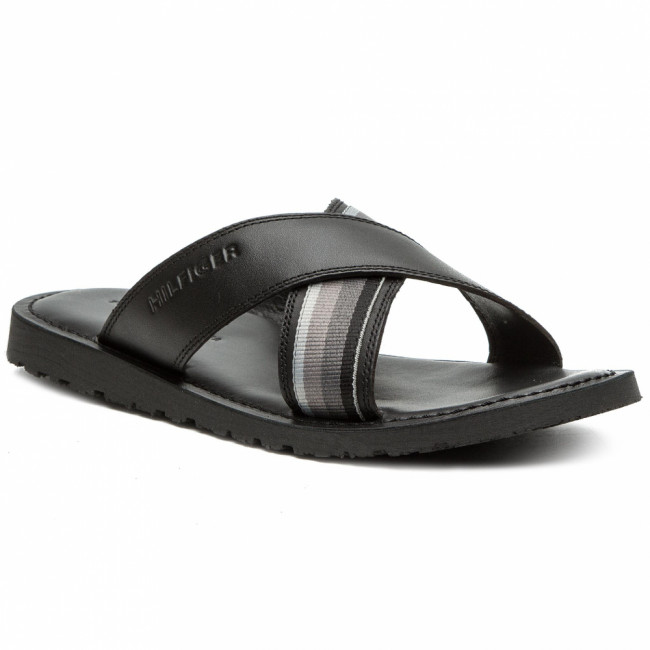 Šľapky TOMMY HILFIGER - Criss Cross Leather Sandal FM0FM02120 Black 990