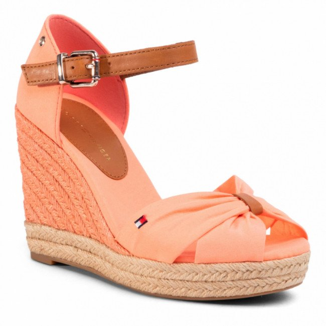 Espadrilky TOMMY HILFIGER - Basic Opened Toe High Wedge FW0FW04784 Island Coral SN7