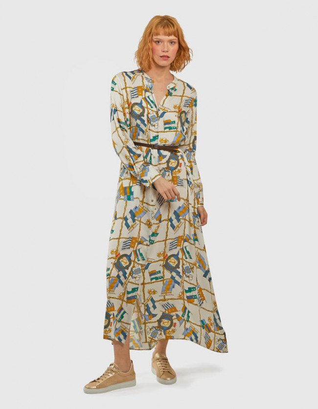 Šaty La Martina Woman Flags Print L/S Dress - Rôznofarebná