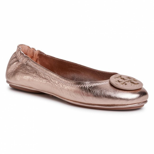 Baleríny TORY BURCH - Minnie Travl Ballet 73963 Rose Gold/Rose Gold 654