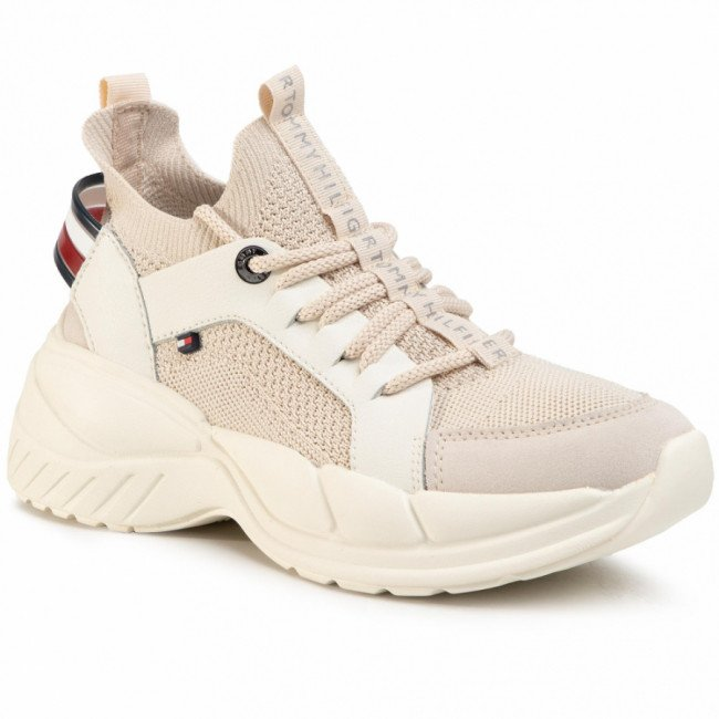 Sneakersy TOMMY HILFIGER -  New Chunky Tommy Sneaker FW0FW04826 Sugarcane AA8