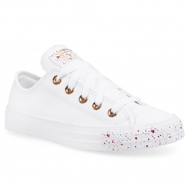 Tramky CONVERSE - Ctas Ox 566728C  White/Gold/Rose Maroon