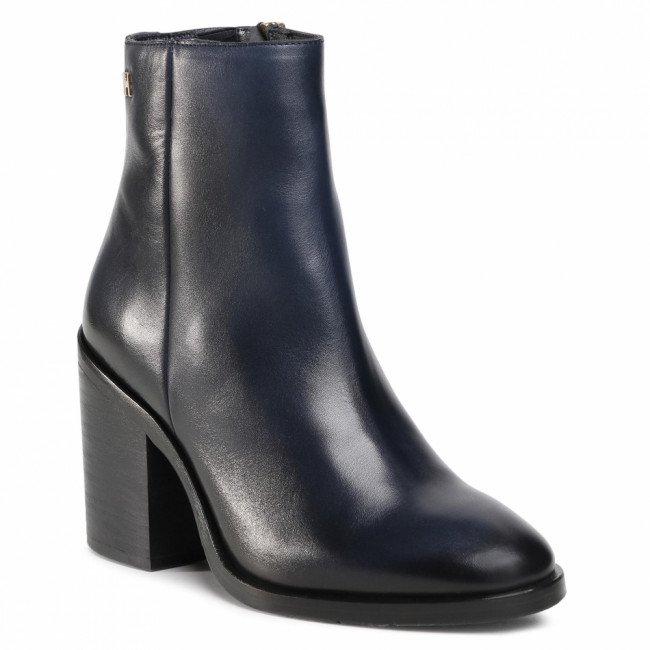 Členkové čižmy TOMMY HILFIGER - Shaded Leather High Heel Boot FW0FW05164 Desert Sky DW5