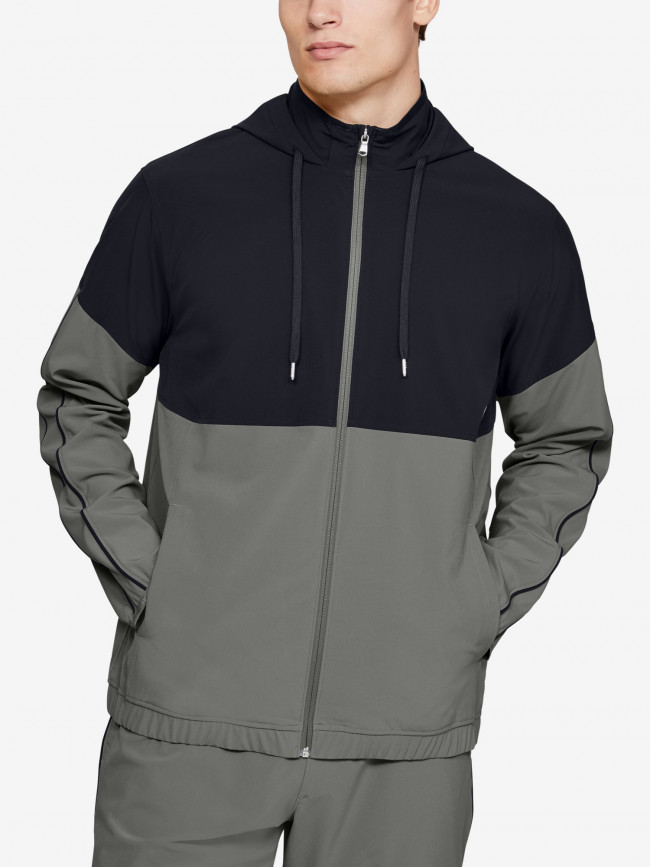 Mikina Under Armour Athlete Recovery Woven Warm Up Top-GRN