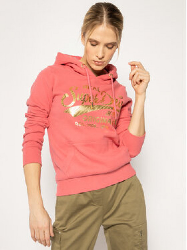 Superdry Mikina Ro Text Infill Entry Hood W2010070A Ružová Regular Fit