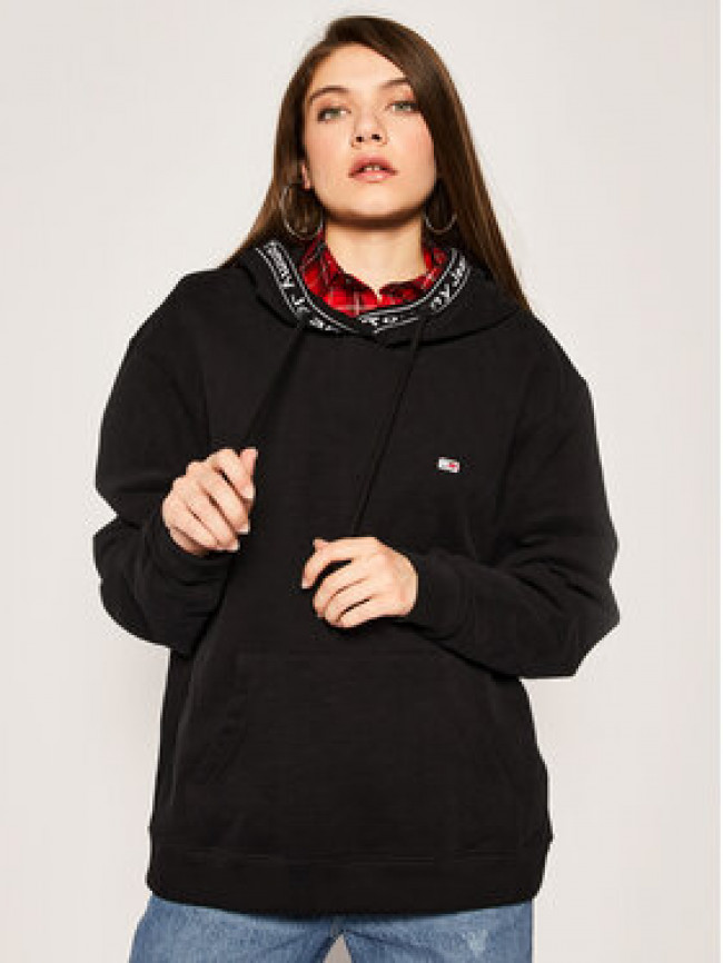 Tommy Jeans Mikina Tjw Branded Rib Hoodie DW0DW07965 Čierna Relaxed Fit