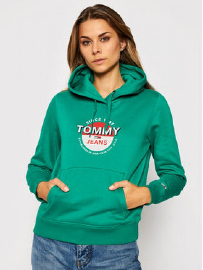 Tommy Jeans Mikina Tjw Essential Logo DW0DW08974 Zelená Regular Fit