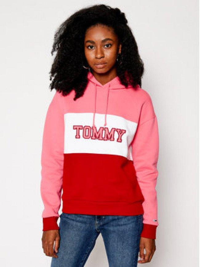 Tommy Jeans Mikina Colorblock DW0DW09141 Farebná Regular Fit
