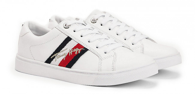 Tommy Hilfiger biele tenisky TH Signature Cupsole Sneaker White