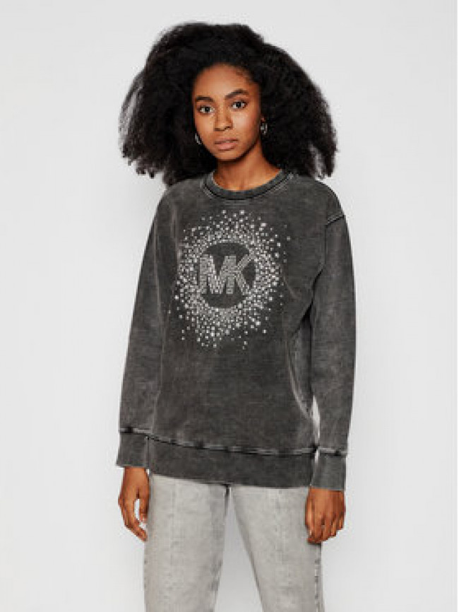 MICHAEL Michael Kors Mikina Star Embellished Logo MH05MTJD8L Sivá Relaxed Fit