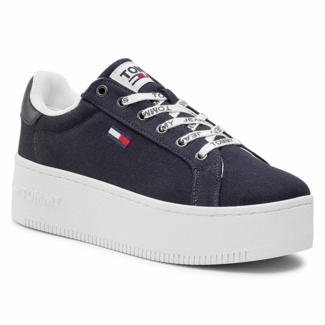 Sneakersy TOMMY JEANS - Iconic Essential Flatform EN0EN01358 Twilight Navy C87