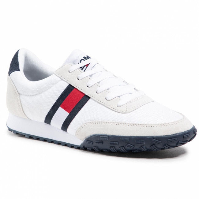 Sneakersy TOMMY JEANS - Low Profile Mix Runner Retro EM0EM00613 White YBI