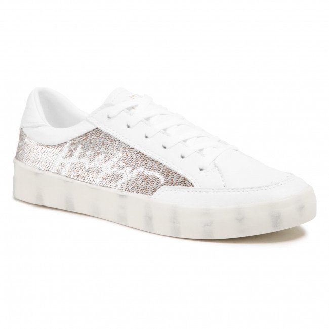 Sneakersy TOMMY HILFIGER - Th Sequins Leather Sneaker FW0FW05541 White YBR
