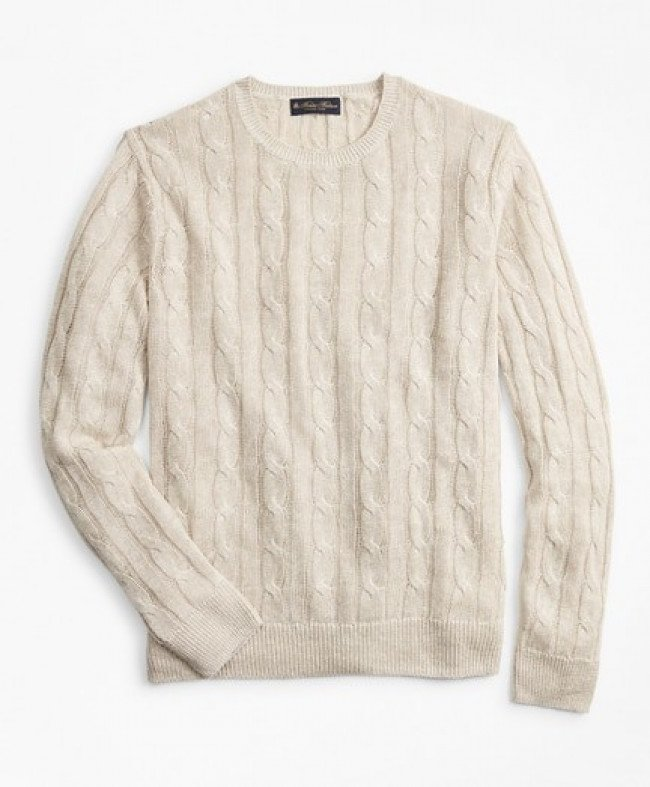 Sveter Brooks Brothers Swt Ml Linen Classic Cable Crewneck Oatmeal Marl