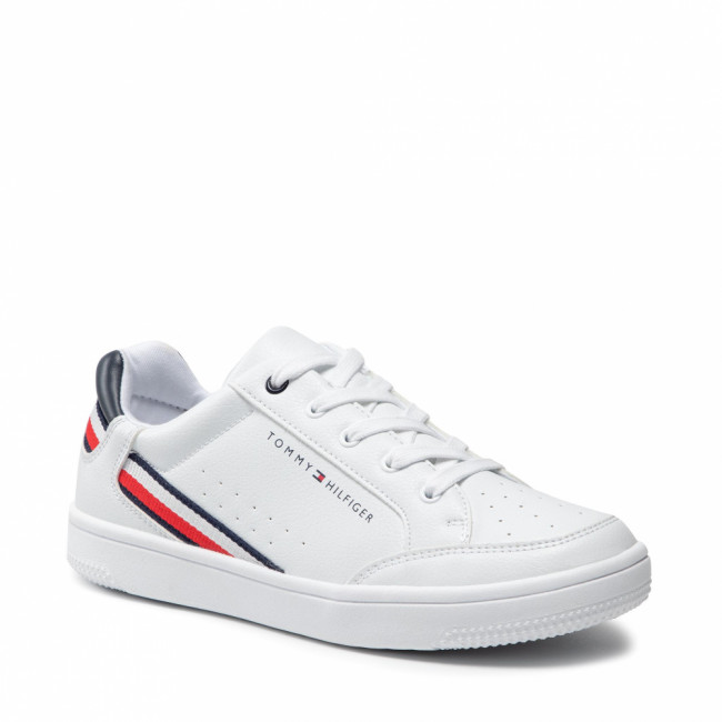 Sneakersy TOMMY HILFIGER - Low Cut Lace-Up Sneaker T3B4-31083-0621 S White/Blue X336