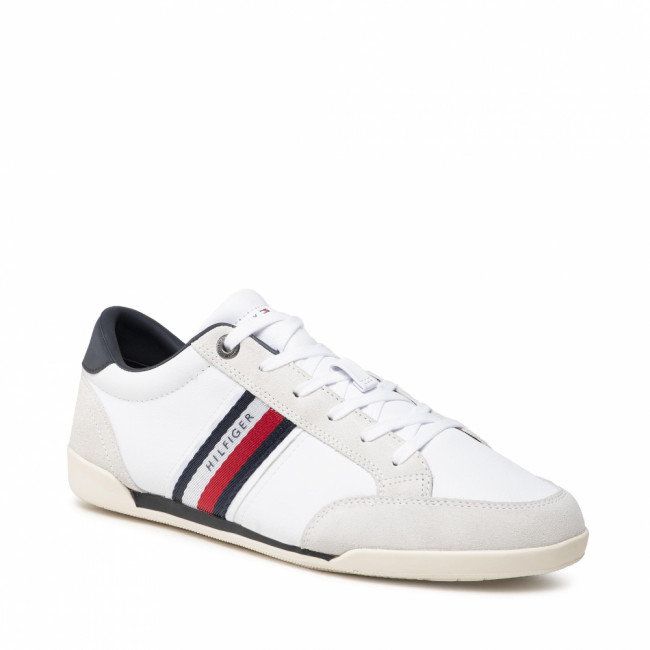 Sneakersy TOMMY HILFIGER - Corporate Material Mix Leather FM0FM03741 White YBR