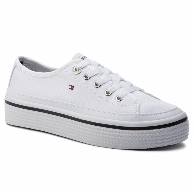 Tenisky TOMMY HILFIGER - Corporate Flatform Sneaker FW0FW04259 White 100