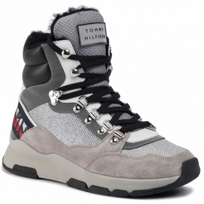 Sneakersy TOMMY HILFIGER - Tommy Sparkle Sporty Boot FW0FW04635  Metallic Silver 0K4