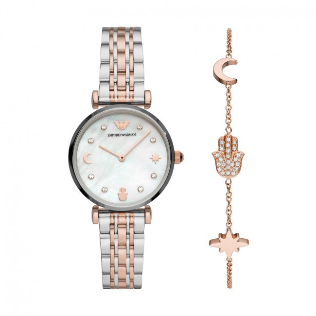 Hodinky EMPORIO ARMANI - Gianni T-Bar AR80037 Rose Gold/Silver