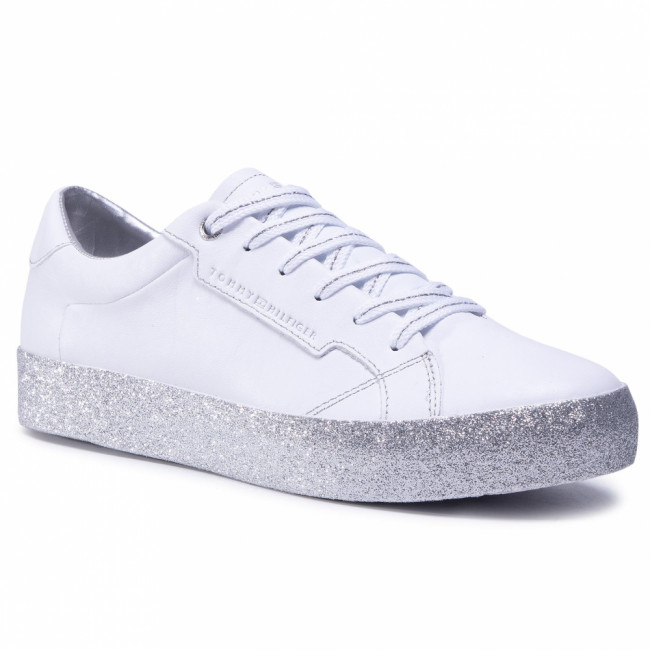 Sneakersy TOMMY HILFIGER - Glitter Foxing Dress Sneaker FW0FW04849 White/Silver 0K5
