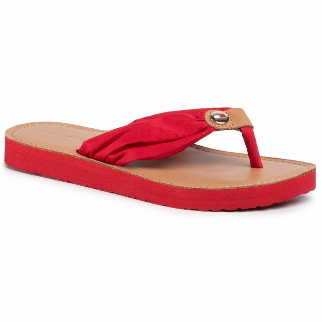 Žabky TOMMY HILFIGER - Leather Footbed Beach Sandal FW0FW00475 Primary Red XLG