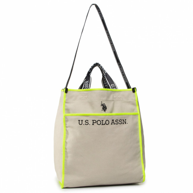 Kabelka U.S. POLO ASSN. - Halifax M Shopping Bag BEUHX2832WUY/503 Canvas/Poly Beige/Yellow
