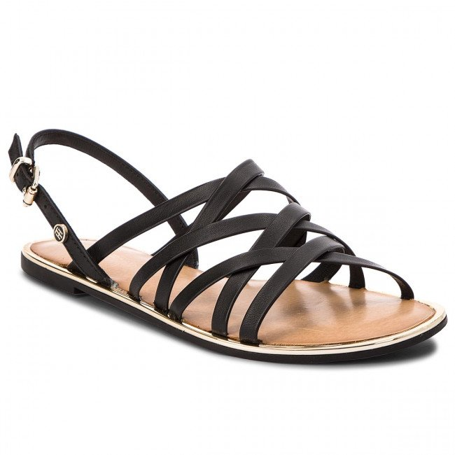 Sandále TOMMY HILFIGER - Leather Strappy Flat Sandal FW0FW02228 Black 990