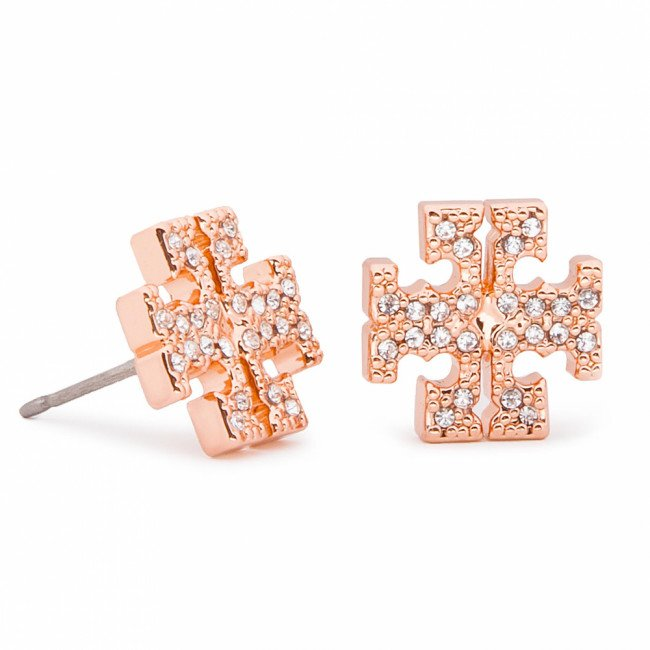 Náušnice TORY BURCH - Crystal Logo Stud Earring 53423 Rose Gold/Crystal 696