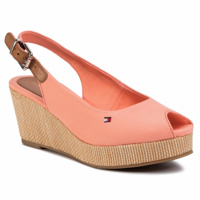 Espadrilky TOMMY HILFIGER - Iconic Elba Sling Back Wedge FW0FW04788 Island Coral SN7