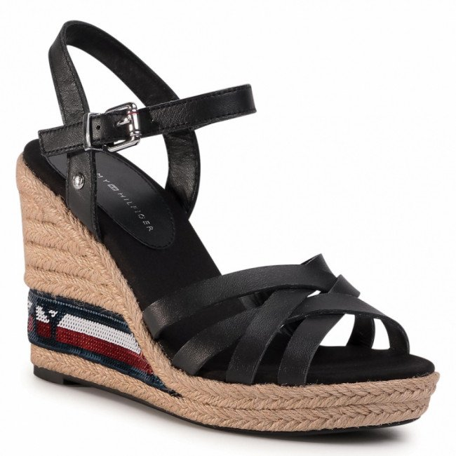 Espadrilky TOMMY HILFIGER - Tommy Sequins High Wedge Sandal FW0FW04843 Black BDS