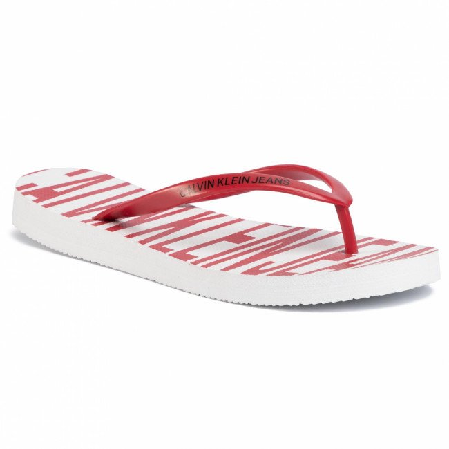 Žabky CALVIN KLEIN JEANS - Daralyn B4R0902 White/Racing Red