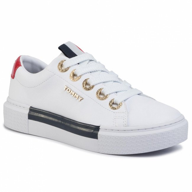 Sneakersy TOMMY HILFIGER - Leather Elevated Tommy Sneaker FW0FW04600 White YBS