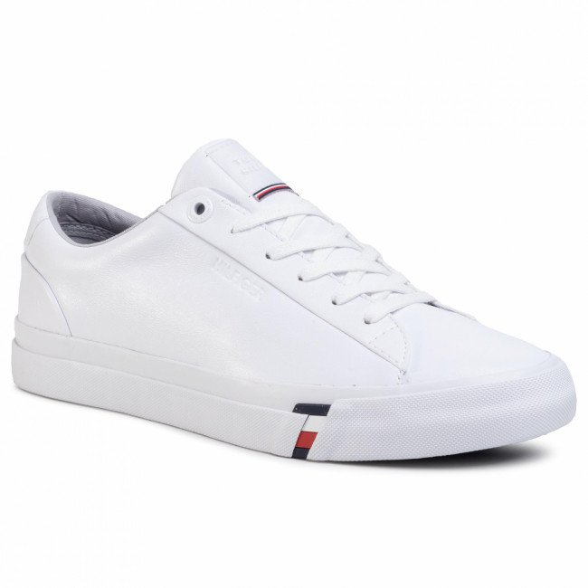 Sneakersy TOMMY HILFIGER - Corporate Leather Sneaker FM0FM02672 White YBS