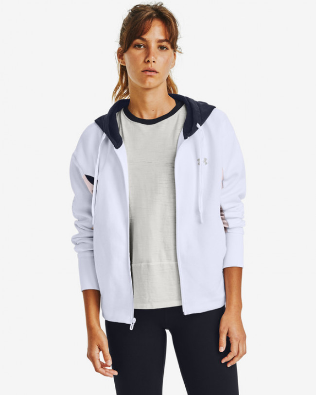 Under Armour Rival Fleece Embroidered Full Zip Mikina Biela