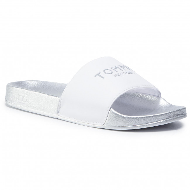 Šľapky TOMMY HILFIGER - Th Glitter Pool Slide FW0FW04982 White YBR