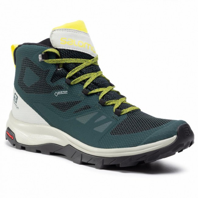Trekingová obuv SALOMON - Outline Mid Gtx GORE-TEX 409964 27 V0 Green Gables/Mineral Gray/Evening Primrose