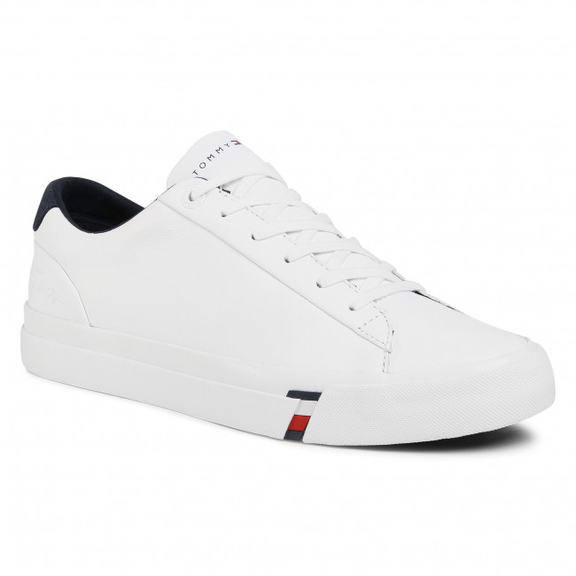 Sneakersy TOMMY HILFIGER - Corporate Leather Sneaker FM0FM02983 White YBR