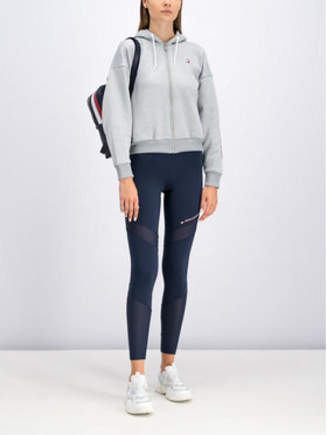 Tommy Sport Mikina Fleece Zip-Up S10S100359 Sivá Oversize