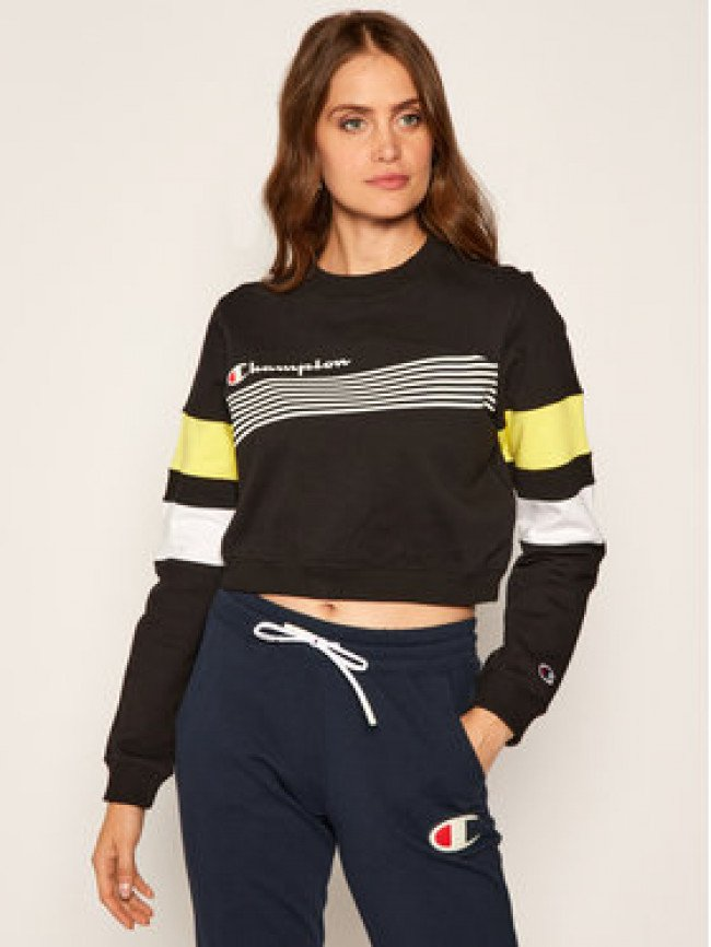 Champion Mikina Graphic Stripe And Colour Block Cropped 112761 Čierna Custom Fit